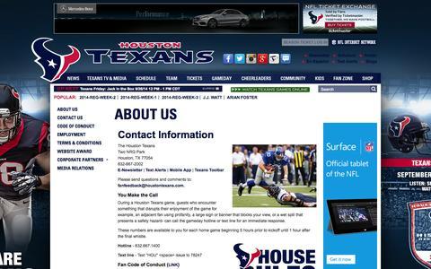 Screenshot of Contact Page houstontexans.com - HoustonTexans.com   Contact Us - captured Sept. 25, 2014