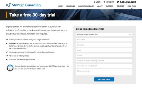 Screenshot of Trial Page storageguardian.com - Free Instant Trial of our Data Backup and Recovery Services - captured Sept. 21, 2018