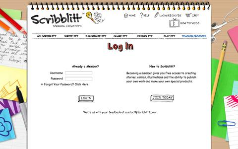 Screenshot of Blog Login Page scribblitt.com - Scribblitt - Make Your Own Book - Kids Self Publishing - captured Oct. 26, 2014