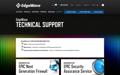 Screenshot of Support Page edgewave.com - Email, Firewall and Web Security Support Center - EdgeWave.com - captured June 17, 2015
