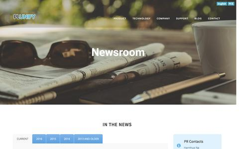 Screenshot of Press Page plunify.com - News – Plunify - captured May 9, 2017