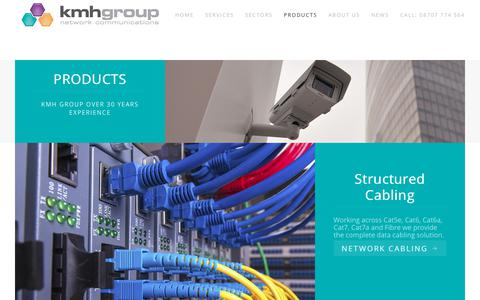 Screenshot of Products Page kmh-group.com - Products - captured Sept. 20, 2018