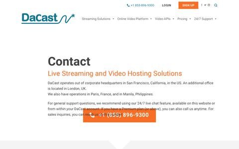 Screenshot of Contact Page dacast.com - Contact for DaCast Video Hosting & Live Streaming Solutions - captured July 6, 2019
