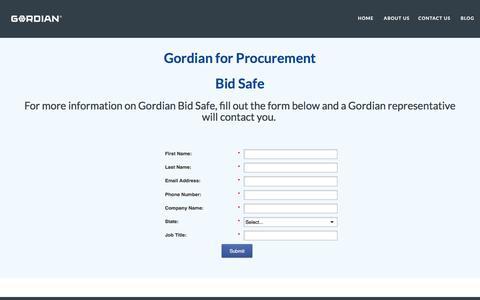 Screenshot of Landing Page thegordiangroup.com - Bid Safe I Gordian for Procurement - captured July 19, 2016