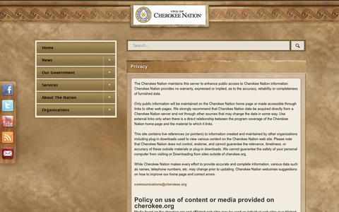 Screenshot of Privacy Page cherokee.org - Privacy - captured July 29, 2017
