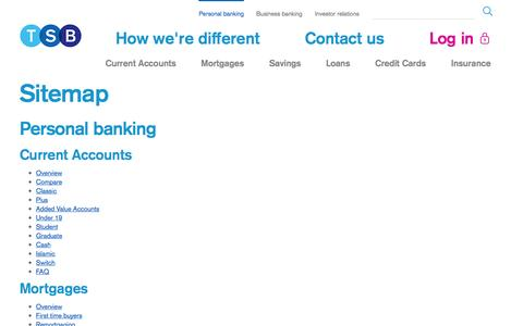 Screenshot of Site Map Page tsb.co.uk - Customer Sitemap   	 - TSB Bank - captured Sept. 18, 2014