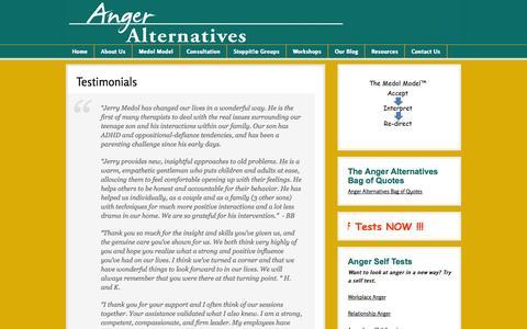 Screenshot of Testimonials Page anger.org - Anger Alternatives: Testimonials | Anger Alternatives - captured Oct. 4, 2014