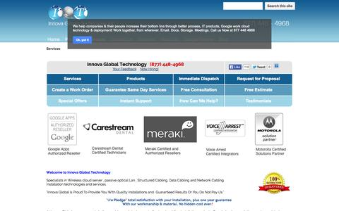 Screenshot of Services Page innovaglobal.com - Services - Network Cabling, Structured Cabling, phone system, Wireless / Wi-Fi National Rollout Contractor - captured Oct. 27, 2014