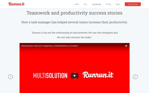 Screenshot of Case Studies Page runrun.it - Teamwork generates productivity | Runrun.it Case Studies - captured Dec. 1, 2016