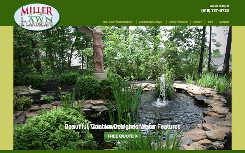 Screenshot of Home Page millerlawn.com - Miller Lawn & Landscape | Kansas City, Overland Park - captured Sept. 5, 2015