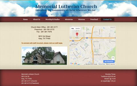 Screenshot of Contact Page mlckaty.com - Memorial Lutheran Church - Contact Us - captured Feb. 12, 2016