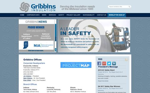 Screenshot of Contact Page Locations Page gribbins.com - Contact Us  |  Gribbins Insulation - captured Sept. 30, 2018