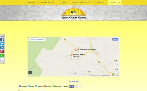 Screenshot of Contact Page rakacheese.com - Contact Us  |  RAKA CHEESE | the Finest Kenyan Cheese - captured Oct. 27, 2014