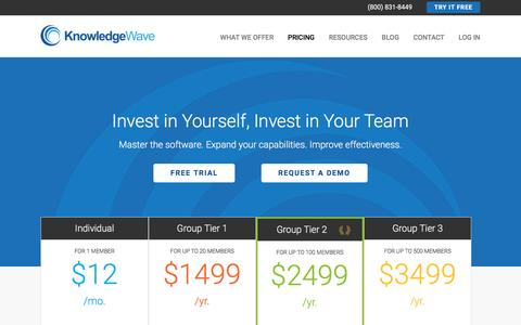 Screenshot of Pricing Page knowledgewave.com - Pricing | KnowledgeWave - captured March 9, 2016