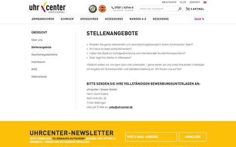 Screenshot of Jobs Page uhrcenter.de - Stellenangebote bei uhrcenter • Uhren & Schmuck Online-Shop - captured Jan. 22, 2016