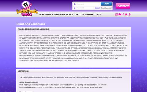 Screenshot of Terms Page luckypantsbingo.com - Terms & Conditions - Lucky Pants Bingo - captured July 17, 2016
