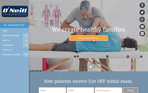 Screenshot of Home Page oneillchiro.com - O'Neill Chiropractic - Chiropractor In Myrtle Beach, SC USA :: Home - captured Feb. 13, 2016