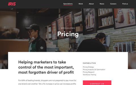 Screenshot of Pricing Page iris-worldwide.com - Pricing - captured Feb. 13, 2020