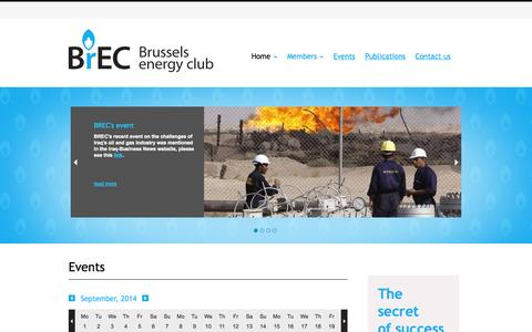 Screenshot of Home Page brusselsenergyclub.org - Home - Brussels Energy Club - captured Sept. 30, 2014
