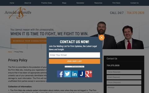 Screenshot of Privacy Page arnoldsmithlaw.com - Privacy Policy :: Charlotte Divorce Attorney Arnold & Smith - captured Oct. 8, 2017
