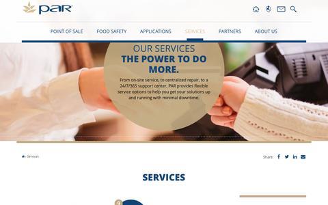 Screenshot of Services Page partech.com - POS Services | Service Road Map | PAR - captured July 14, 2016