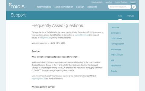 Screenshot of FAQ Page miris.se - FAQ - captured Oct. 20, 2017