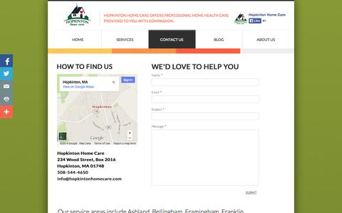 Screenshot of Privacy Page Contact Page hopkintonhomecare.com - Contact Hopkinton Home Care In-Home Healthcare Services - captured Oct. 23, 2014