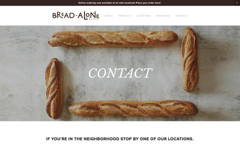 Screenshot of Contact Page breadalone.com - Contact Us — Bread Alone - captured Oct. 11, 2017