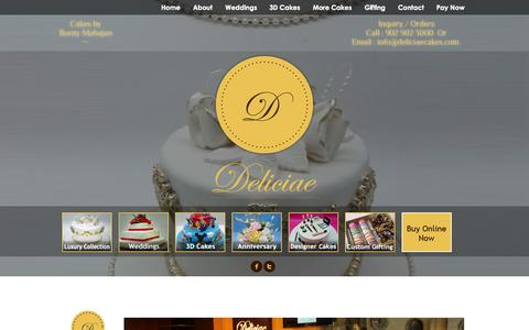 Screenshot of Home Page deliciaecakes.com - Cake Shop In Mumbai, Buy Or Order Online Custom Cakes & Pastries – Deliciae Cakes - captured Sept. 23, 2014