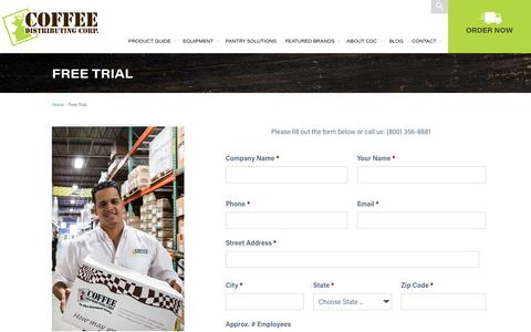 Screenshot of Trial Page cdccoffee.com - Coffee Brewer Free Trial Form - Coffee Distributing NY NJ CT - captured Nov. 8, 2016