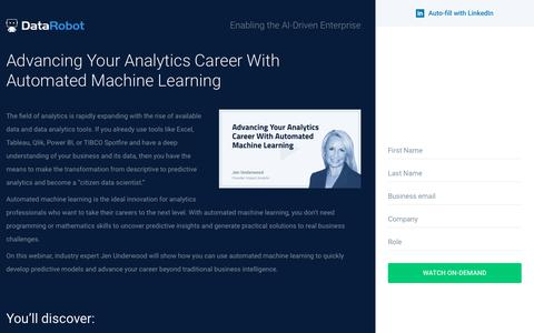 Screenshot of Landing Page datarobot.com - Advancing Your Analytics Career With Automated Machine Learning - captured Sept. 19, 2018