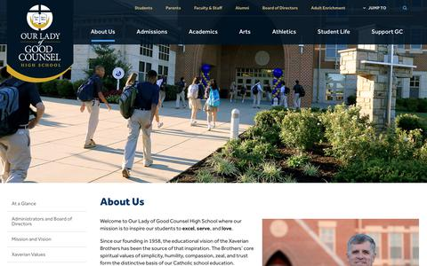 Screenshot of About Page olgchs.org - About Us - Our Lady of Good Counsel High School - Olney, MD - captured Oct. 18, 2018