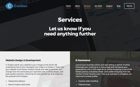 Screenshot of Services Page creiden.com - Web and Mobile Services - Creiden - captured Oct. 1, 2015