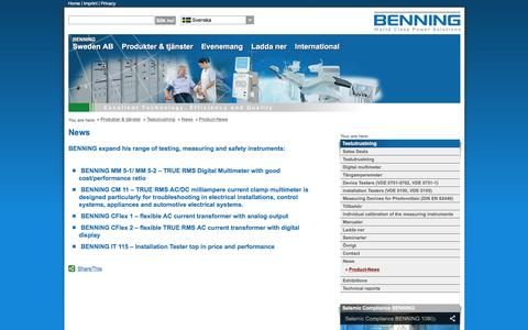 Screenshot of Press Page benning.se - Product-NewsBENNING World Class Test Equipment - Testers, Testequipment, Measuring, Multimeter, Safety Devices, Current Clamp Multimeter, Digital Mulimeter, Multimeter, Digital Current Clamp Multimeter, Safety Tests, Phase-sequence test, capacity me - captured Feb. 7, 2016