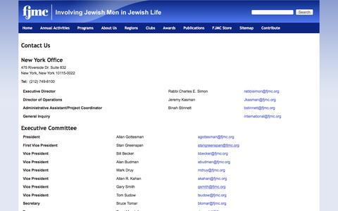 Screenshot of Contact Page fjmc.org - Contact Us   Federation of Jewish Men's Clubs - captured June 5, 2017