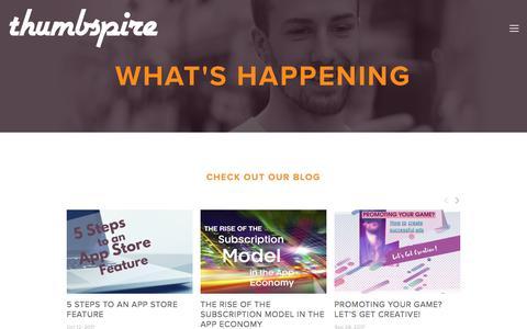 Screenshot of Press Page thumbspire.com - thumbspire — news - blog - events - social media - captured Nov. 17, 2017