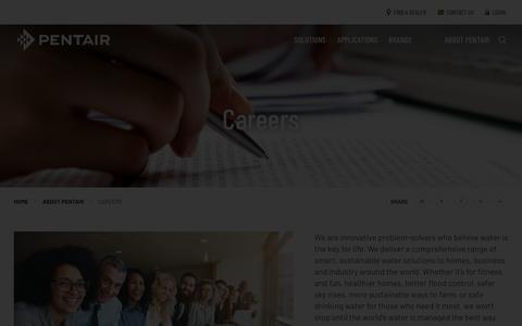 Screenshot of Jobs Page pentair.com - Careers   Pentair - captured April 1, 2019