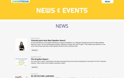 Screenshot of Press Page chemstream.be - News-Events - captured Nov. 4, 2018