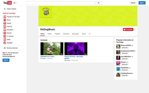 Screenshot of YouTube Page youtube.com - OkiDogMusic  - YouTube - captured Oct. 29, 2014