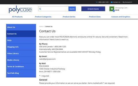 Screenshot of Contact Page polycase.com - Contact Us | Polycase - captured Nov. 7, 2016