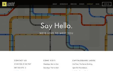 Screenshot of Contact Page capitalsqua.re - Contact — CapitalSquare - captured Jan. 25, 2016