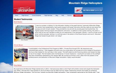 Screenshot of Testimonials Page mountainridgeheli.com - Student Testimonials | Mountain Ridge Helicopters - captured Oct. 26, 2014