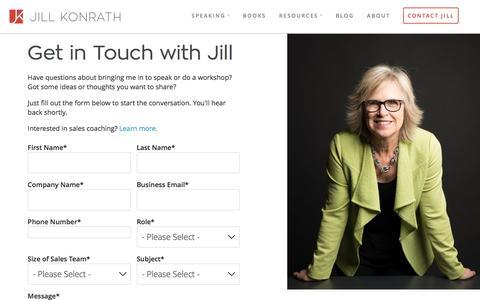 Screenshot of About Page jillkonrath.com - Contact Jill Konrath - captured March 19, 2016