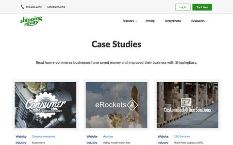 Screenshot of Case Studies Page shippingeasy.com - E-commerce Shipping Case Studies | ShippingEasy - captured Aug. 10, 2019