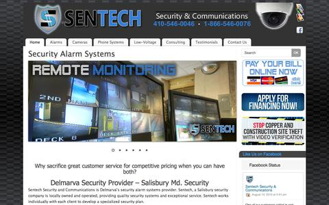 Screenshot of Home Page sentechsc.com - Security Alarm Systems - Sentech Security and Communications - captured Aug. 16, 2015