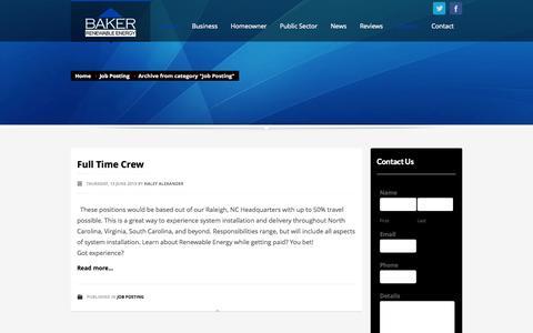 Screenshot of Jobs Page bakerrenewable.com - Job Posting   Baker Renewable Energy - captured Oct. 5, 2014