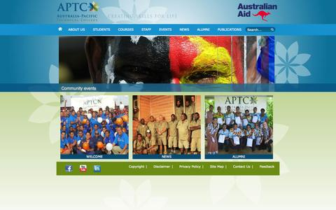 Screenshot of Home Page aptc.edu.au - APTC - The Australia-Pacific Technical College - Home - captured Oct. 4, 2014