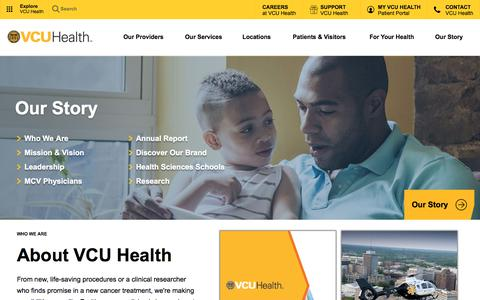 Screenshot of About Page vcuhealth.org - Our Story - Virginia Commonwealth University Health System | VCU Health - captured July 1, 2018