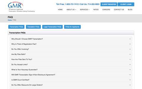Screenshot of FAQ Page gmrtranscription.com - Transcription Services FAQ   GMR Transcription - captured Aug. 16, 2019