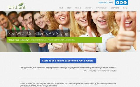 Screenshot of Testimonials Page go-brilliant.com - Client Testimonials | Why Our Clients Love Us! - captured Sept. 23, 2014